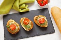 新鲜的自创开胃小菜Bruschetta 库存图片