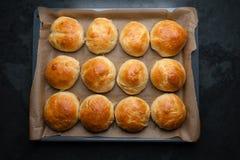 新鲜的自创汉堡包小圆面包/奶油蛋卷 库存照片