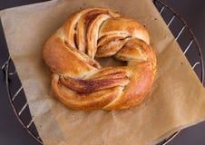 新鲜的自创甜发面面包漩涡小圆面包用桂香 在烘烤的纸 选择聚焦 免版税库存照片