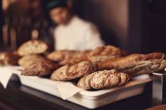 新鲜的自创食家面包 面包店概念 免版税图库摄影
