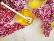新鲜的自然蜂蜜淡紫色开花构成花营养可口在灰色具体背景 免版税库存图片