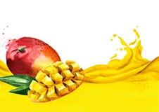 新鲜的芒果在一系列的芒果汁,水彩手拉的例证结果实 皇族释放例证