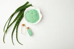 新鲜的芦荟维拉叶子和杯芦荟维拉汁液和芳香草本海盐在白色背景 温泉健康清楚的特写镜头 库存图片