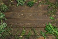 新鲜的草本品种在木背景的 库存图片