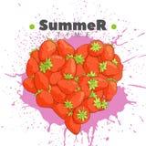 新鲜的草莓的心脏 库存例证