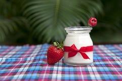 新鲜的草莓酸奶 库存照片