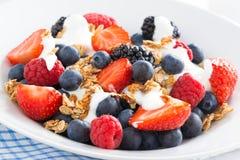 新鲜的莓果、酸奶和muesli,特写镜头 图库摄影