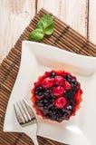 新鲜的莓果果子馅饼或蛋糕用乳蛋糕、莓、蓝莓红醋栗和黑莓可口点心,容易的饮食填装了 clos 免版税库存图片
