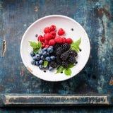 新鲜的莓果的混合与叶子的 库存图片