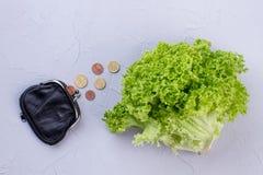 新鲜的莴苣、钱包和硬币 免版税库存图片