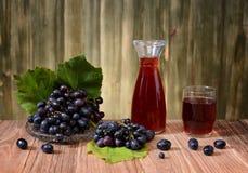 新鲜的葡萄和酒在瓶 库存图片