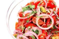 新鲜的葱沙拉蕃茄 免版税库存图片