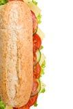 新鲜的蒜味咸腊肠三明治水下白色 免版税库存照片