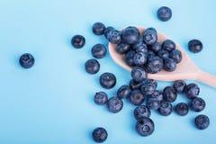 新鲜的蓝莓一张顶视图在蓝色背景的 在一把木匙子的水多和健康蓝莓 蓝莓收获  库存照片