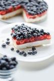 新鲜的蓝莓和蓝草莓饼 免版税库存照片
