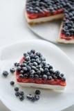 新鲜的蓝莓和蓝草莓饼 图库摄影