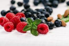 新鲜的蓝莓用在一张木白色桌上的薄菏 自然抗氧剂 健康概念的食物 有机superfood 图库摄影