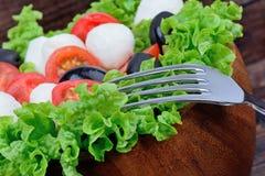 新鲜的蔬菜沙拉用无盐干酪蕃茄和橄榄在桌上 免版税图库摄影