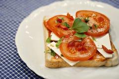 新鲜的蕃茄和乳酪三明治 免版税库存图片