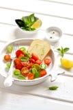 新鲜的蕃茄和乳酪在葡萄酒板材 图库摄影