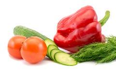 新鲜的蕃茄和切的黄瓜和红辣椒用在白色背景隔绝的绿色莳萝 免版税图库摄影