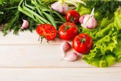 新鲜的蕃茄和大蒜,文本的地方 图库摄影