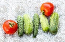 新鲜的蕃茄和黄瓜 免版税库存图片