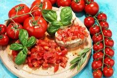 新鲜的蕃茄bruschetta 与蓬蒿的意大利食物开胃菜 免版税图库摄影