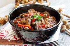 新鲜的蘑菇炖煮的食物用红辣椒和荷兰芹 库存图片