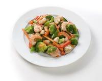 新鲜的虾和菜 免版税库存照片