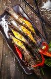 新鲜的虾-盐味的鸡蛋 库存照片