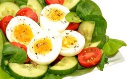 新鲜的蛋和蕃茄色拉盘 免版税库存图片