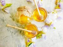 新鲜的蜂蜜虹膜花在具体背景夏天 免版税图库摄影