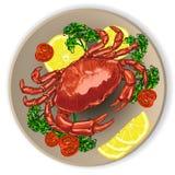新鲜的螃蟹,服务与菜 库存图片