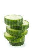 新鲜的被堆积的黄瓜 免版税库存照片