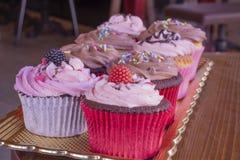 新鲜的被烘烤的可口不同的杯形蛋糕一起服务 免版税库存照片