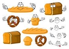 新鲜的被烘烤的面包大面包、杯形蛋糕和椒盐脆饼 免版税库存照片