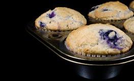 在一个老平底锅的自创蓝莓松饼 免版税库存图片