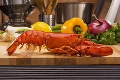 新鲜的被蒸的龙虾和烤肉格栅 免版税库存图片