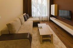 新鲜的被更新的公寓的客厅与现代LED照明设备 库存图片