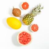 新鲜的西瓜,葡萄柚的瓜的五颜六色的果子样式 免版税库存照片
