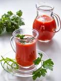 新鲜的西红柿汁在一个玻璃杯子和在与绿色的一个金瓜 库存照片