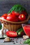 新鲜的西红柿酱和红色蕃茄用莳萝,大蒜,胡椒在桌上 免版税图库摄影