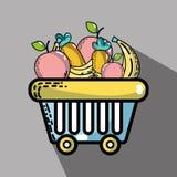 新鲜的超级市场产品和营养食物 向量例证