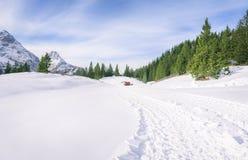 新鲜的路通过在山的雪 免版税库存照片