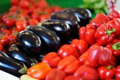 新鲜的辣椒粉和茄子在农业市场上 免版税库存照片