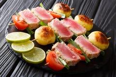 新鲜的金枪鱼、蕃茄、土豆和葱开胃菜  库存照片