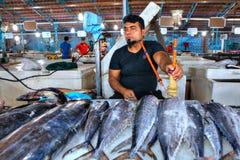 新鲜的金枪鱼在冰,客商抽水烟筒的鱼说谎 图库摄影