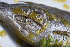 新鲜的银色鲂服务用水煮的土豆和两不同蔬菜泥射击的12close 免版税库存图片