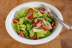 新鲜的长叶莴苣和西红柿沙拉 免版税库存照片